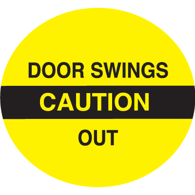Caution Door Swings Out Safety Door And Window Decals