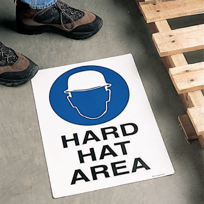 Safety Floor Signs- Hard Hat Area (With Graphic)