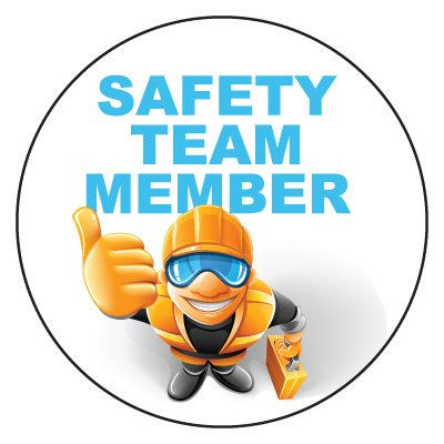 Safety Hard Hat Labels - Safety Team Member (White)