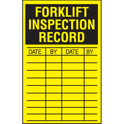 Forklift Inspection Record Labels