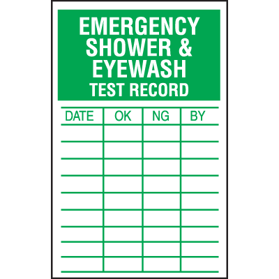 Emergency Shower And Eyewash Test Inspection Labels