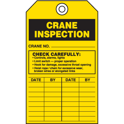 Safety Inspection Tags - Crane Inspection