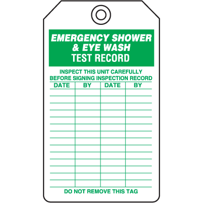 Safety Inspection Tags - Emergency Shower & Eyewash Test Record