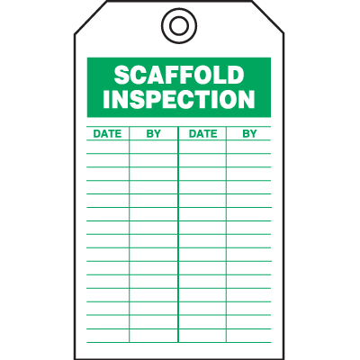 Safety Inspection Tags - Scaffold Inspection