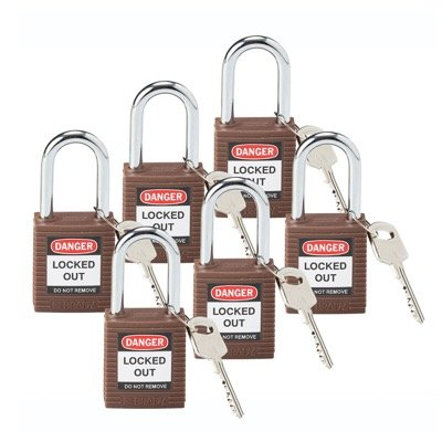 Brady Keyed Different One and Half inch Shackle Safety Locks - Brown - Part Number - 101956 - 6/Pack