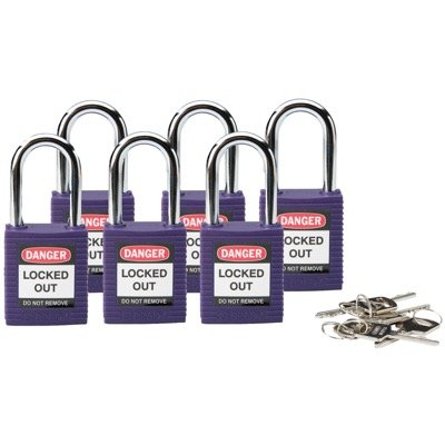 Brady Keyed Alike One and Half inch Shackle Safety Locks - Purple - Part Number - 118952 - 6/Pack