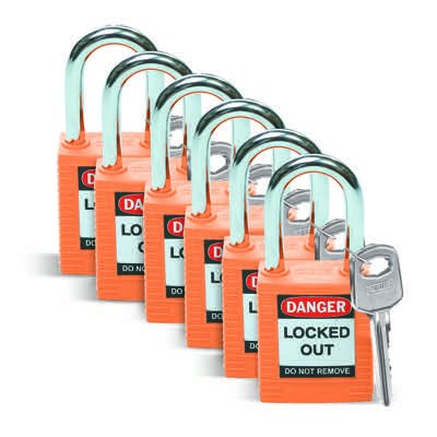 Brady Keyed Alike One and Half inch Shackle Safety Locks - Orange - Part Number - 123270 - 6/Pack