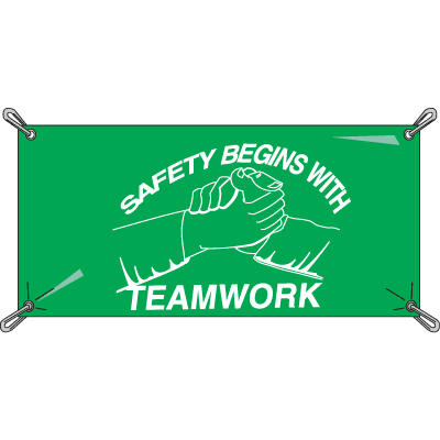 Safety Begins With Teamwork Safety Slogan Banners