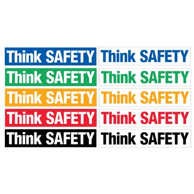 Safety Slogan Mirror Labels - Think Safety