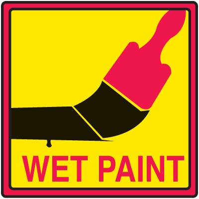 Safety Traffic Cone Signs - Wet Paint