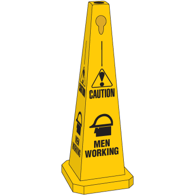 Safety Traffic Cones- Caution Men Working