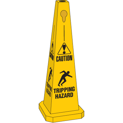 Safety Traffic Cones- Caution Tripping Hazard (With Graphic)