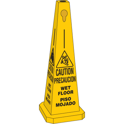 Safety Traffic Cones - Caution Wet Floor (Bilingual) w/ Graphic