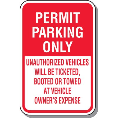 School Parking Signs - Permit Parking Only