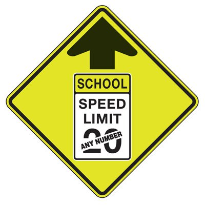 School Speed Limit - Semi-Custom Fluorescent Pedestrian Signs