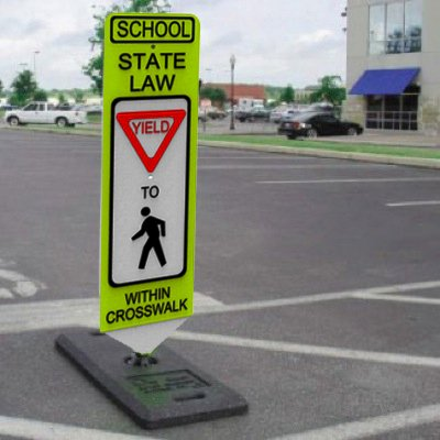 School State Law Yield - Spring-Back Pedestrian Crossing Signs