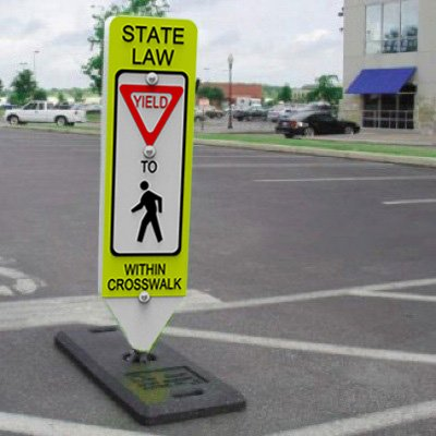 State Law Yield - Spring-Back Pedestrian Crossing Signs