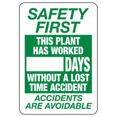 Safety First This Plant Has Worked _ Days - Scoreboard Sign