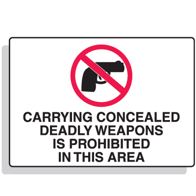 Carrying Concealed Weapons Is Prohibited Security Signs