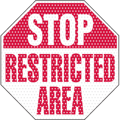 See Thru Security Labels - Stop Restricted Area