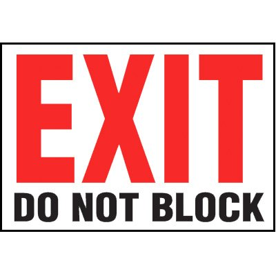 Self-Adhesive Vinyl Exit Signs - Exit Do Not Block