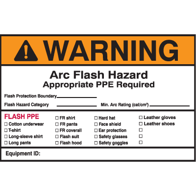Self Laminating Arc Flash Labels- Arc Flash Hazard Appropriate PPE Required