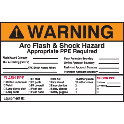 Self Laminating Arc Flash Labels- WARNING Arc Flash and Shock Hazard Appropriate PPE Required