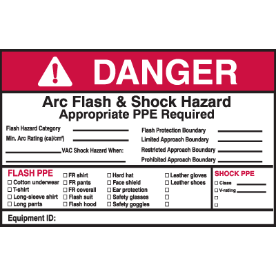 Self Laminating Arc Flash Labels- DANGER Arc Flash and Shock Hazard Appropriate PPE Required