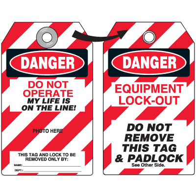 Self-Laminating Employee Photo Lockout Tags- Danger Do Not Operate