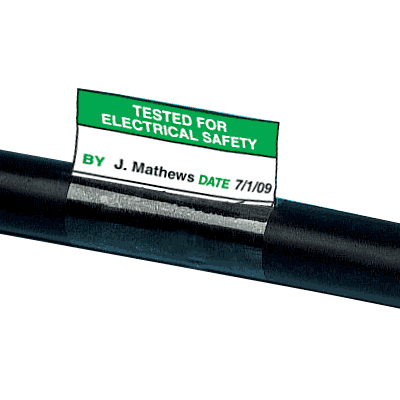 Electrical Safety Write-On Cable Markers - Tested For Electrical Safety By Date