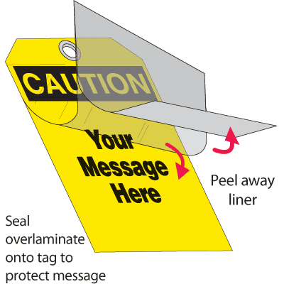 Self-Laminating Tags - Caution Header Only