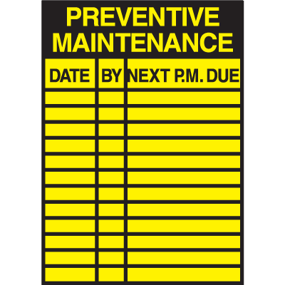 Preventative Maintenance Service Labels