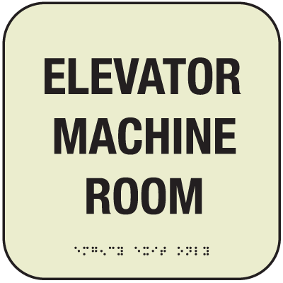 Elevator Machine Room SIgn - Glow-In-The-Dark Signs