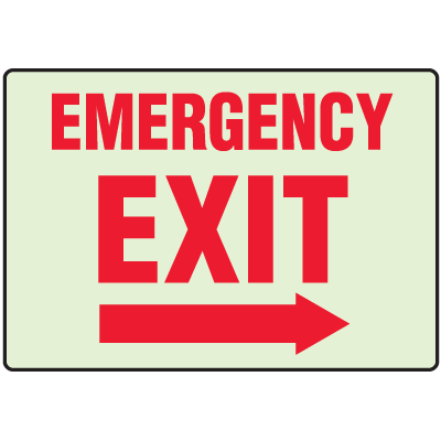 Luminous Exit and Path Marker Signs - Emergency Exit (Right Arrow)