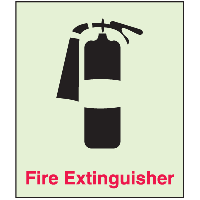 Fire Extinguisher - Glow-In-The-Dark Fire Exit Sign