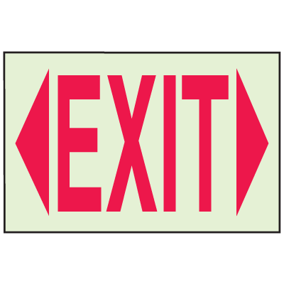 Exit with Dual Facing Arrows - Glow-In-The Dark Fire Exit Sign