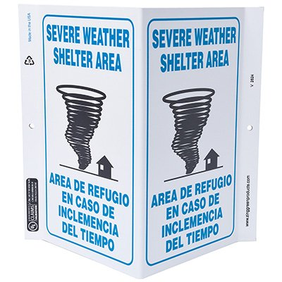 Severe Weather Bilingual V-Style Sign