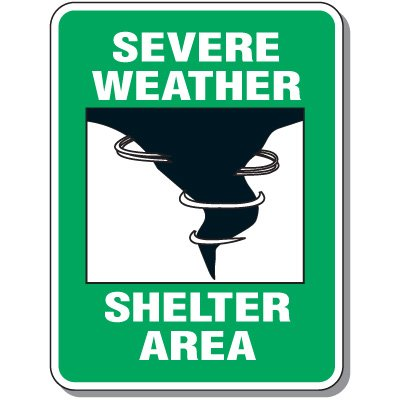 Severe Weather Shelter Area - Evacuation Signs