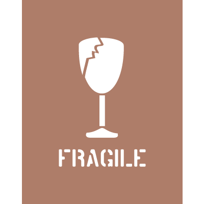 Shipping Instruction Stencils- - Fragile With Broken Glass Graphic