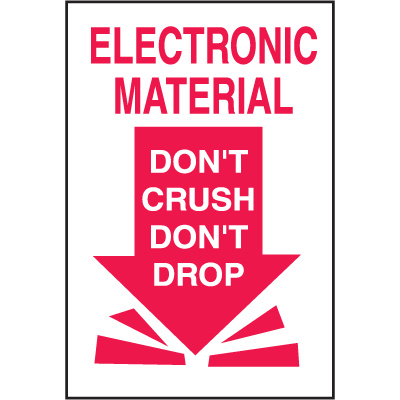 Electronic Material Don't Crush Don't Drop Shipping Labels