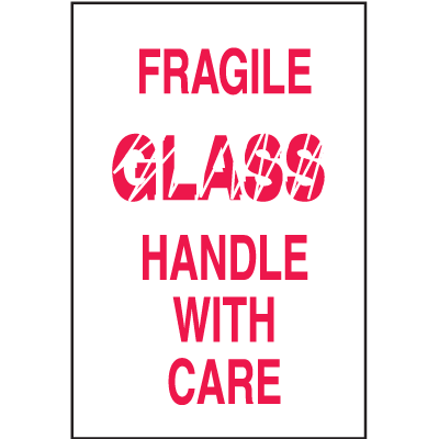 Fragile Glass Handle With Care Shipping Labels