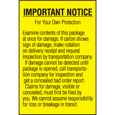Important Notice For Your Own Protection Shipping Labels