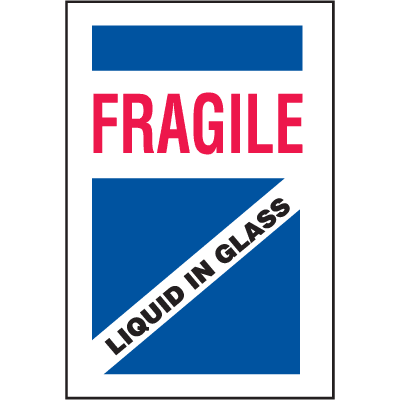 Fragile Liquid In Glass Shipping Labels