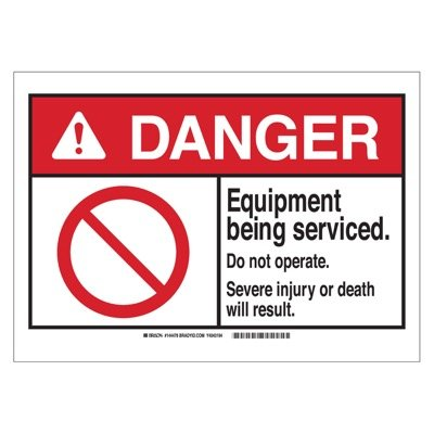 Brady ANSI Sign - Danger - Equipment Being Services - Aluminum - Part Number - 144481 - 1/Each