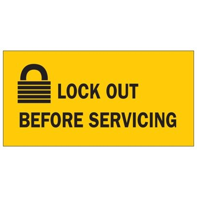 Brady Lockout Sign - Lockout before servicing - Part Number - 88302 - 1/Each