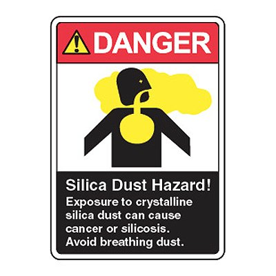 Silica Dust Hazard Exposure Can Cause Cancer - Silica Safety Signs