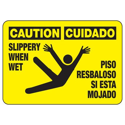 Bilingual Caution Slippery When Wet - Industrial Slip and Trip Sign