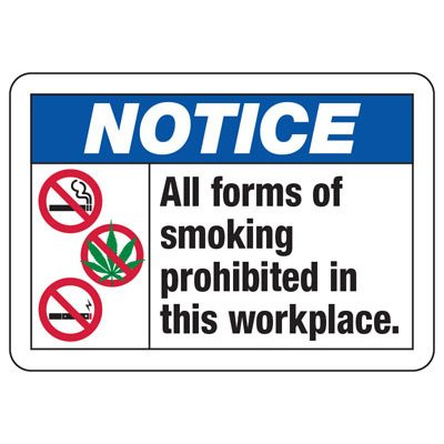 Notice All Forms Of Smoking W/ Three Graphics - No Smoking Sign