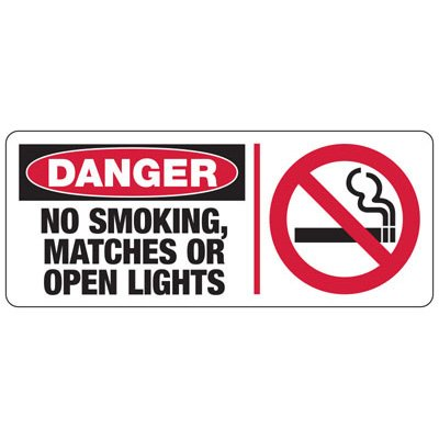 Danger No Smoking Matches (Symbol) - Industrial Smoking Signs
