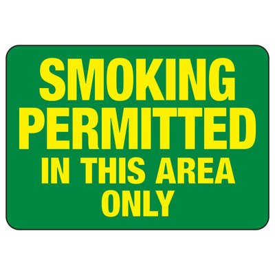 Smoking Permitted in this Area Only - No Smoking Sign